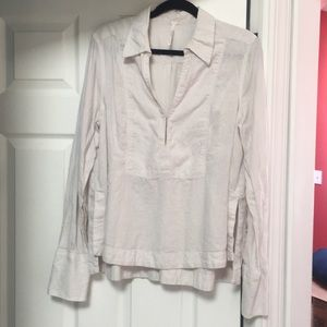 Free People Off White Long Sleeve Top Size L